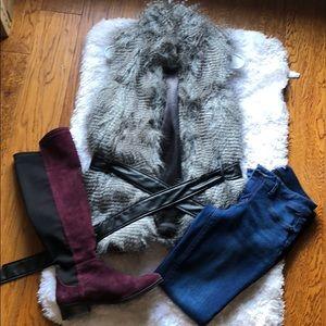 Faux fur vest with faux leather belt